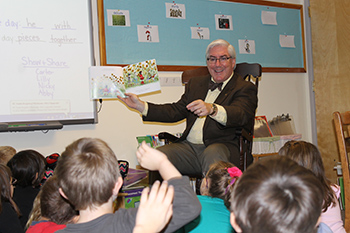 President of Franklin Pierce University Reads to First Graders at Local Elementary School